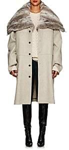 Y/Project Women's Wool Melton & Faux-Fur Convertible Coat - Light Gray