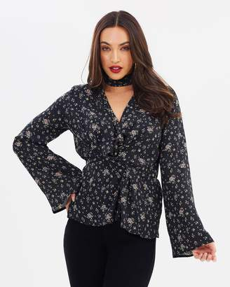Missguided Printed Drape Front Plunge Blouse