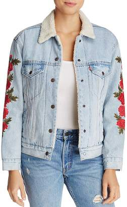 Levi's Ex-Boyfriend Trucker Denim Jacket with Embroidery $198 thestylecure.com