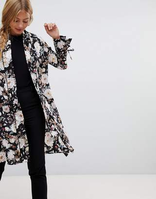Qed London QED London satin floral kimono with piping