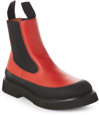 Celine Red & Black Country Ankle Boots