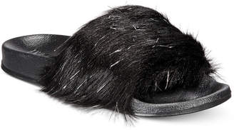 INC International Concepts I.n.c. Faux-Fur Slide Slippers, Created for Macy's