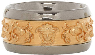 Versace Gold and Silver Brocade Ring