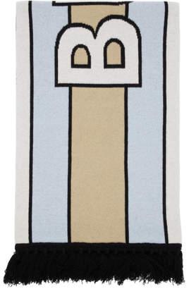 Burberry Blue Cashmere Logo Scarf