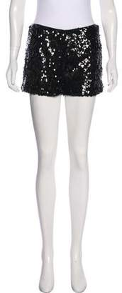 Halston Sequined Mid-Rise Shorts
