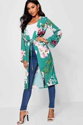 boohoo Anya Oriental Flower Print Kimono