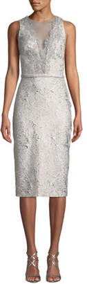 Theia Sleeveless Cloque Cocktail Dress w/ Metallic Lace