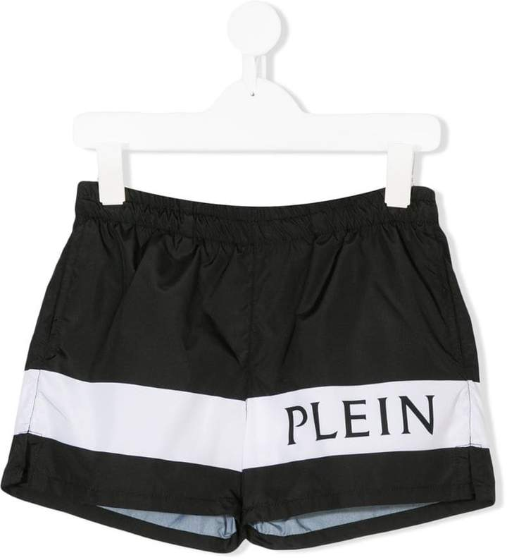 Philipp Plein Junior two-tone logo swim shorts