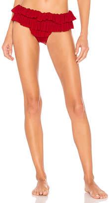 Norma Kamali High Leg Ruffle Bikini Bottom