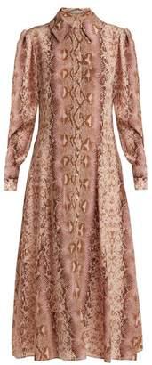 Emilia Wickstead Lucinda Python Print Silk Shirtdress - Womens - Animal