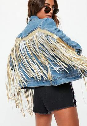 Missguided Blue Statement Fringe Back Denim Jacket