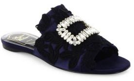Roger Vivier Crystal Buckle Lace-Embroidered Satin Slides $1,595 thestylecure.com