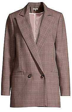 Ganni Women's Suiting Plaid Double-Breasted Blazer