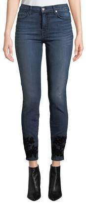 7 For All Mankind High-Waist Skinny Ankle Jeans with Velvet Floral Details