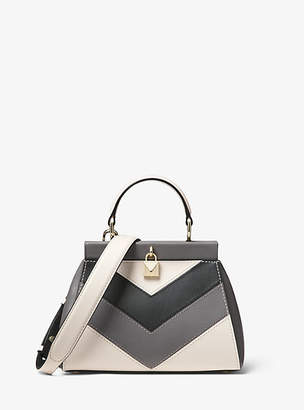 Michael Kors Gramercy Small Tri-Color Leather Frame Satchel