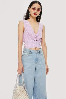 Topshop Check Wrap Crop Top