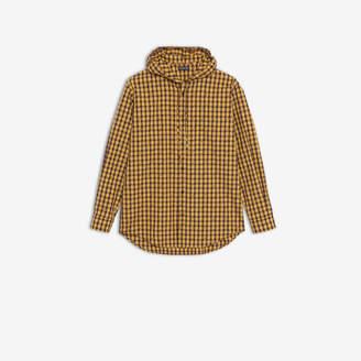 Balenciaga Logo Hooded Shirt in yellow and black micro tartan cotton poplin