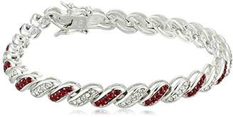 Swarovski Sterling Silver Siam Red and White Alternating Twisted Bracelet Made with Crystal (4mm)