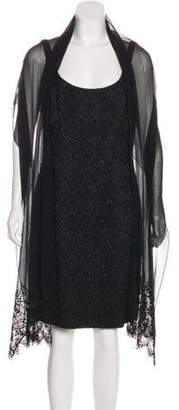 Carmen Marc Valvo Beaded Sleeveless Cocktail Dress Black Beaded Sleeveless Cocktail Dress