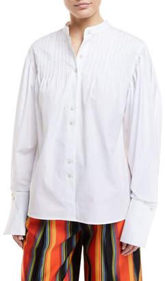 Diane von Furstenberg Long-Sleeve Button-Front Pintuck Cotton Shirt