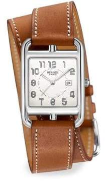 Hermes Watches Cape Cod, Stainless Steel& Leather Strap Watch