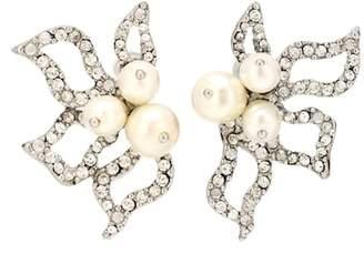 Oscar de la Renta Crystal-embellished petal earrings
