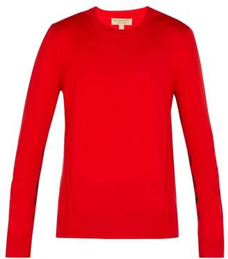 Burberry - Check Insert Merino Wool Sweater - Mens - Red