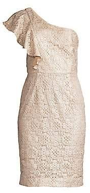 Trina Turk Women's Launch One-Shoulder Lace Sheath Dress