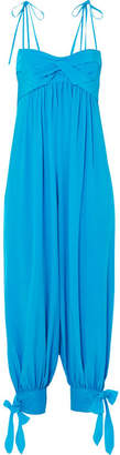 Three Graces London Reed Tie-embellished Washed-silk Jumpsuit - Bright blue