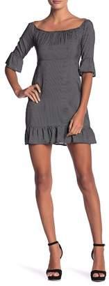 Honey Punch Elbow Sleeve Polka Dot Print Dress