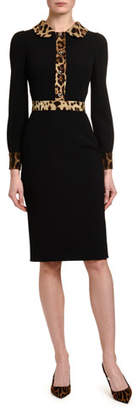 Dolce & Gabbana Leopard-Trim Cady Shirtdress