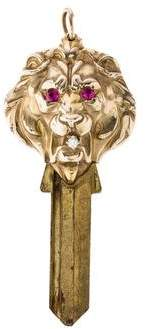 14K Lion Head Key Pendant