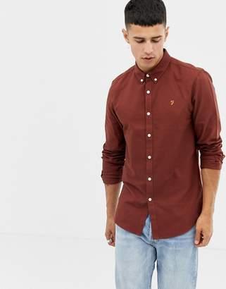 Farah Brewer slim fit oxford shirt in rust