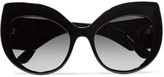 Dolce & Gabbana Crystal-embellished Cat-eye Acetate Sunglasses - Black