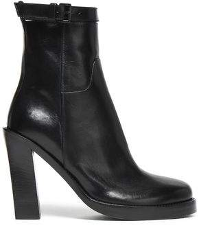Ann Demeulemeester Glossed-Leather Platform Ankle Boots