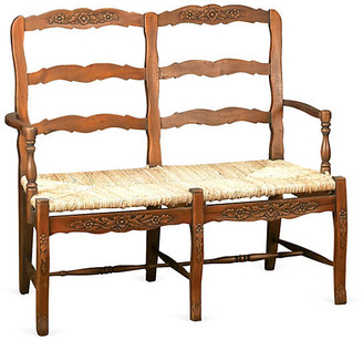 One Kings Lane Catherine 2-Seater Bench - Walnut/Jute