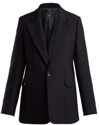 Joseph Lisle Pinstriped Single Breasted Wool Blazer - Womens - Navy