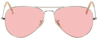 Ray-Ban Silver and Pink Aviator Sunglasses