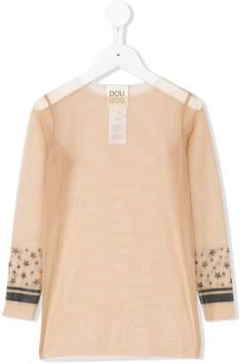 Douuod Kids stars print sheer blouse