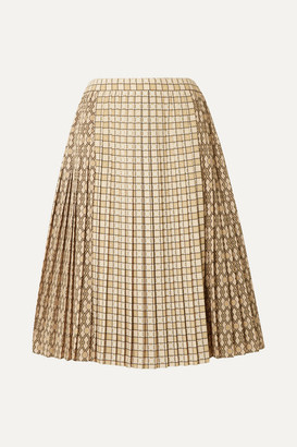 Burberry Pleated Printed Satin Midi Skirt - Beige
