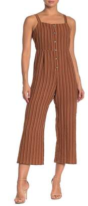 Lumiere Sleeveless Button Up Stripe Jumpsuit