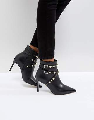 Carvela Granite Pearl Buckle Leather Heeled Ankle Boots