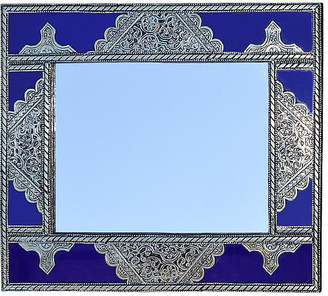 One Kings Lane Vintage Blue & Silver Moroccan Mirror - The Moroccan Room
