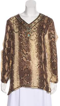 Adrienne Landau Embellished Silk Top
