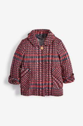 Next Girls Navy/Red Wool Blend Jacket (3mths-7yrs) - Red