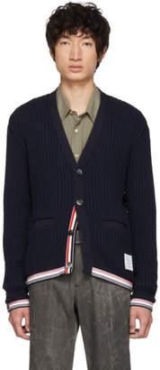 Thom Browne Navy Chunky V-Neck Cardigan