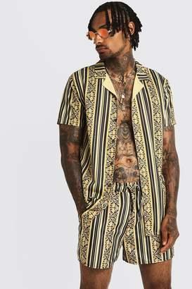 boohoo Baroque Striped Short Sleeve Revere Shirt