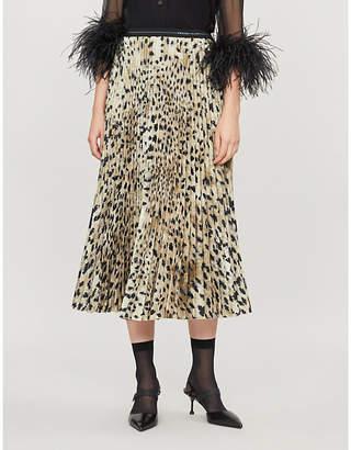 Prada Leopard-print pleated crepe midi skirt