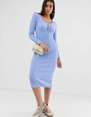9e2414e71dc Asos Design DESIGN scoop neck midi dress in rib with button detail
