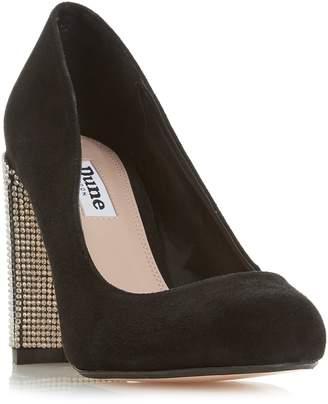 Dune Bling Diamante Block Heel Court Shoes